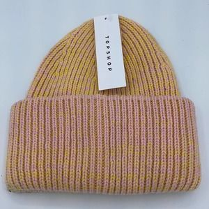 TOPSHOP Pink and Yellow Cuffed Knit Beanie